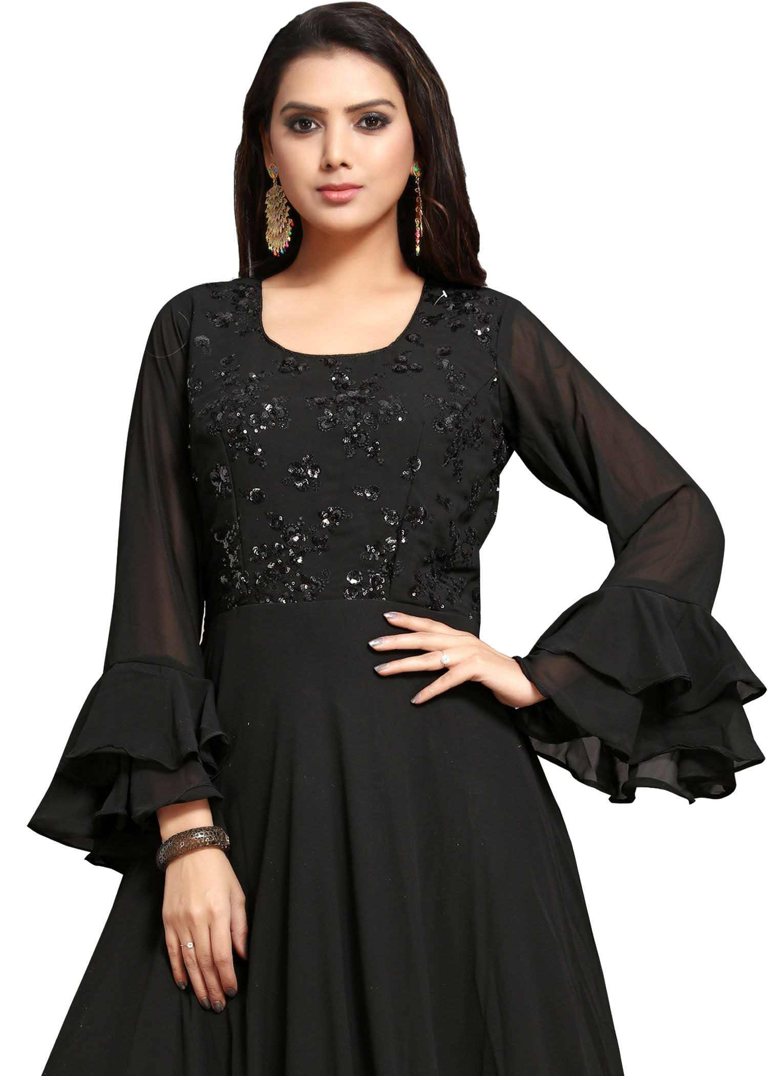 Georgette Anarkali Suit - Black