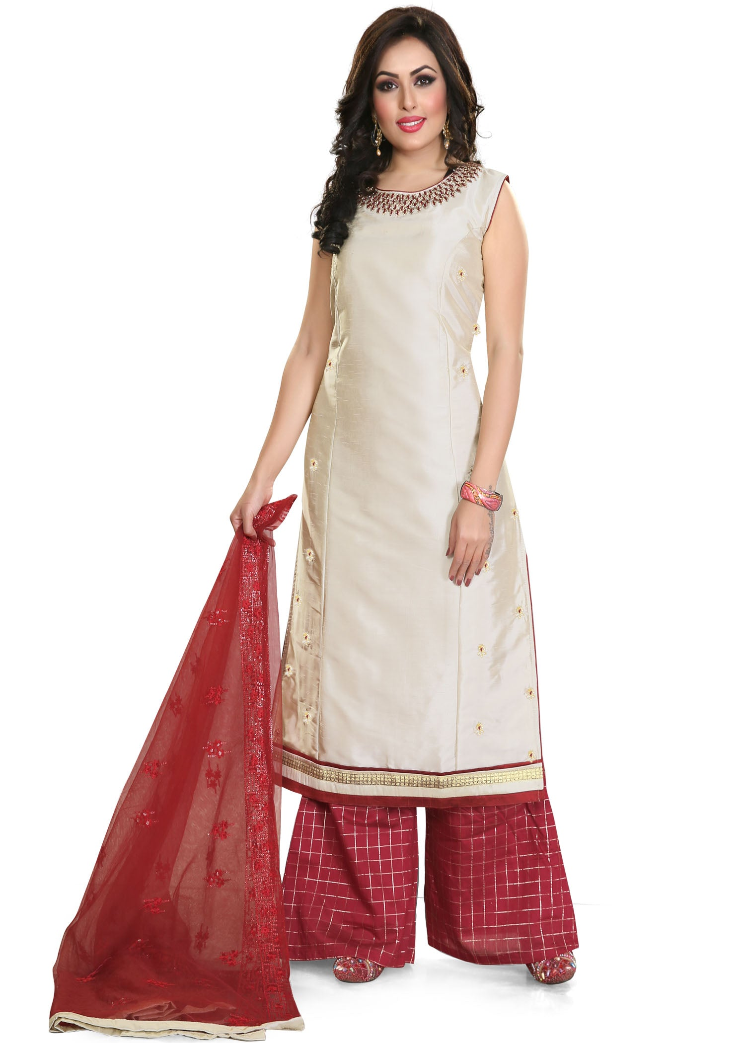 Dupion Silk Plazzo Suit - Cream
