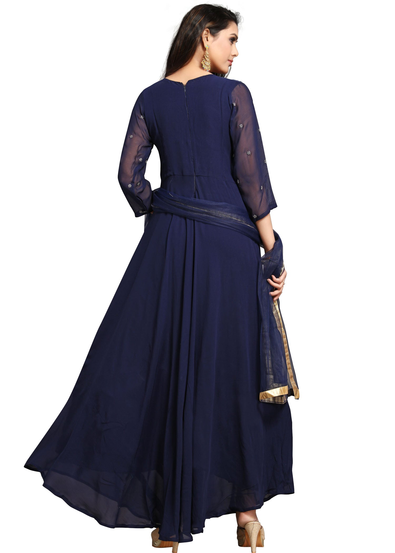 Georgette Flared Dress - Indigo Blue