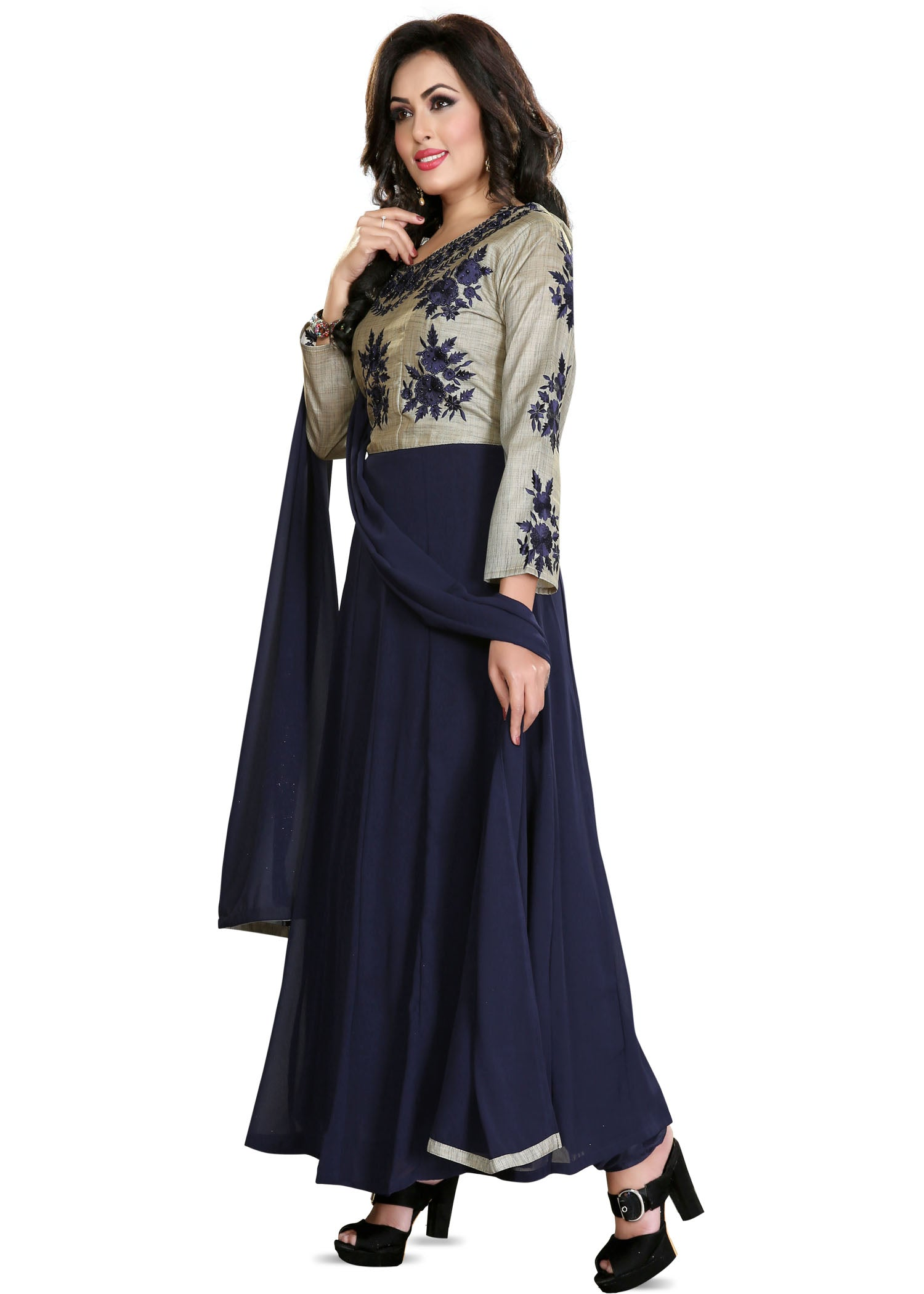 Georgette Anarkali Suit - Navy Blue