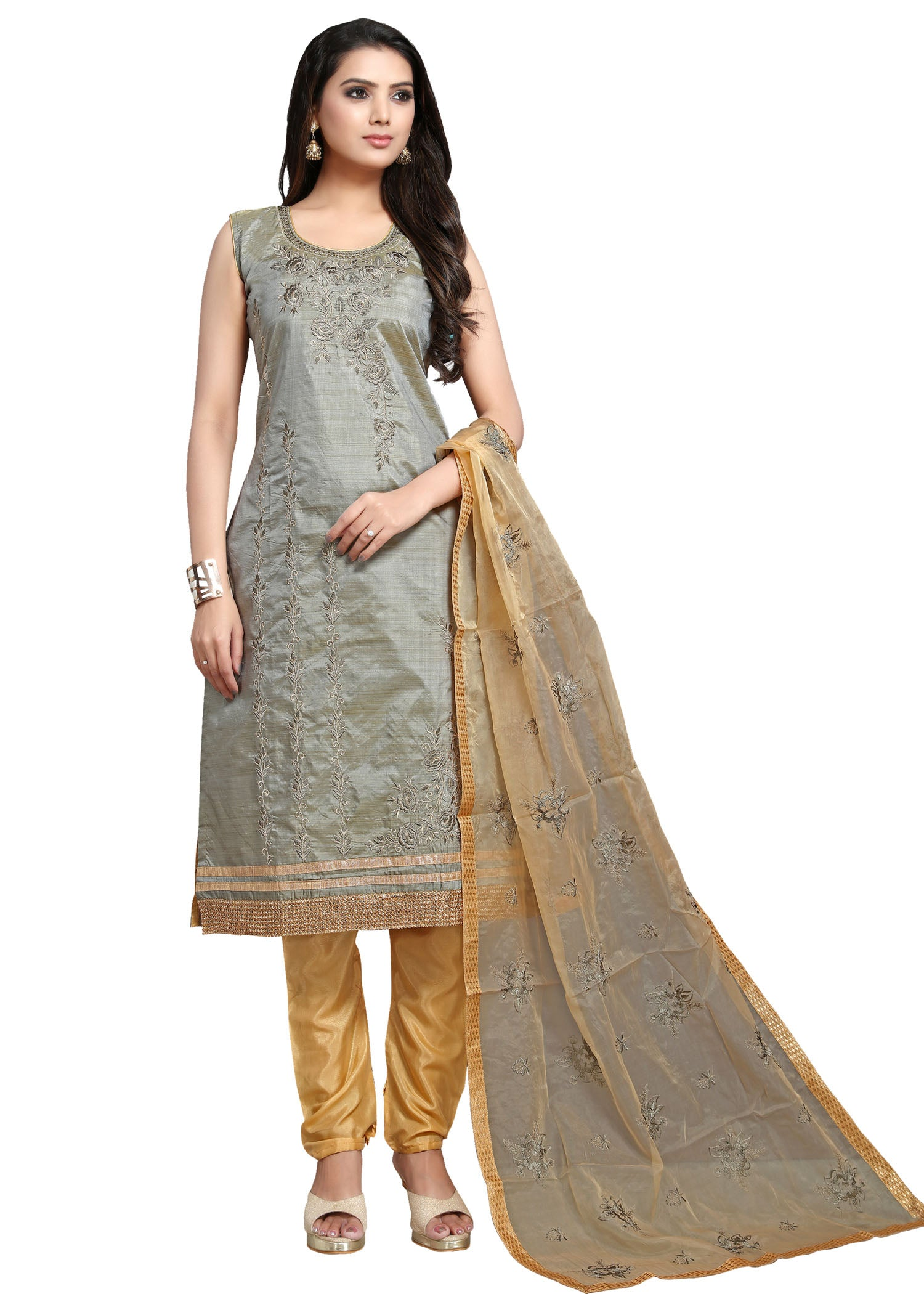 Chanderi Silk Churidar Suit with Resham - Grey