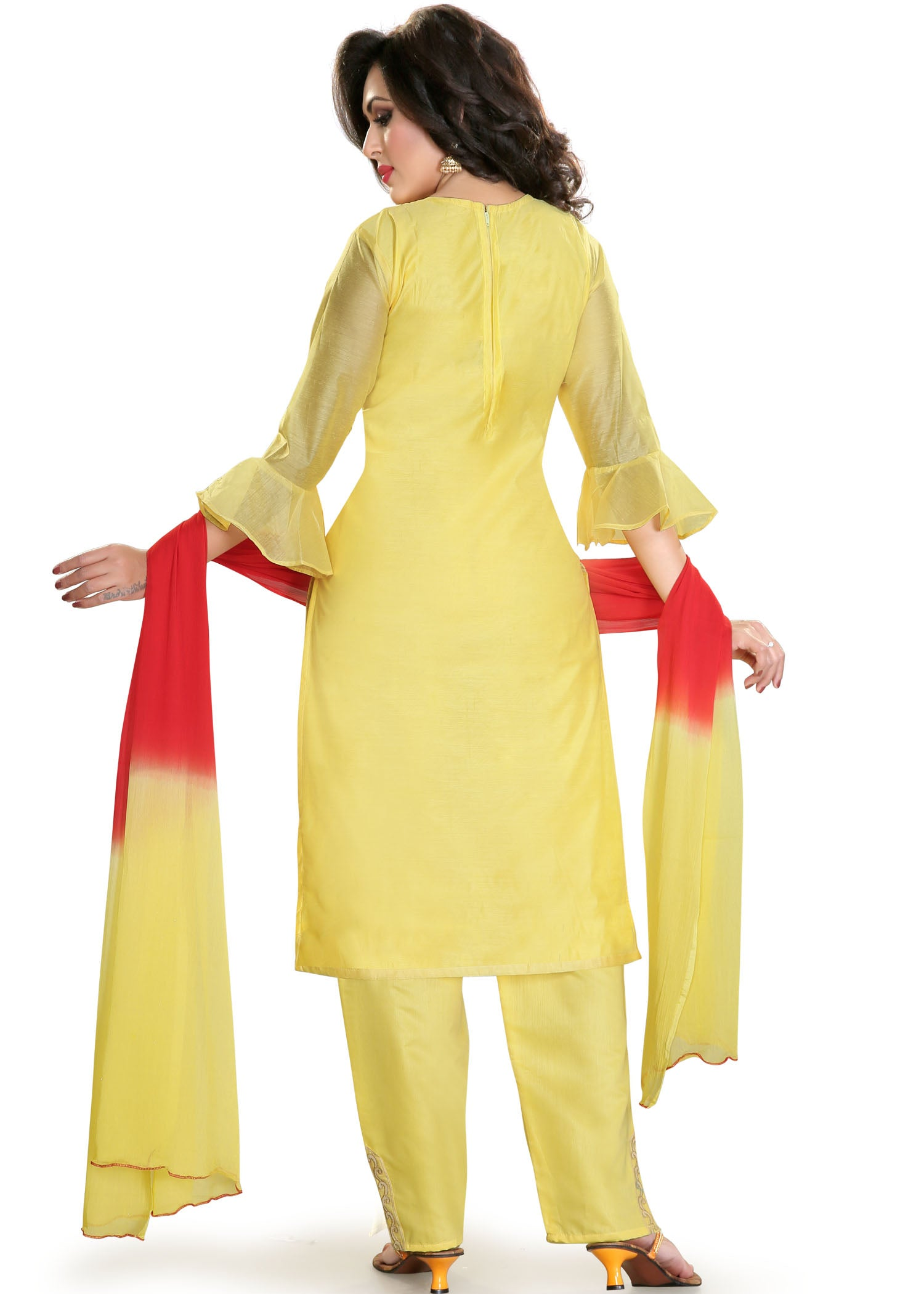 Chanderi Silk Churidar Suit - Yellow