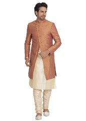 3 Pcs Brocade Sherwani Suit - Rust