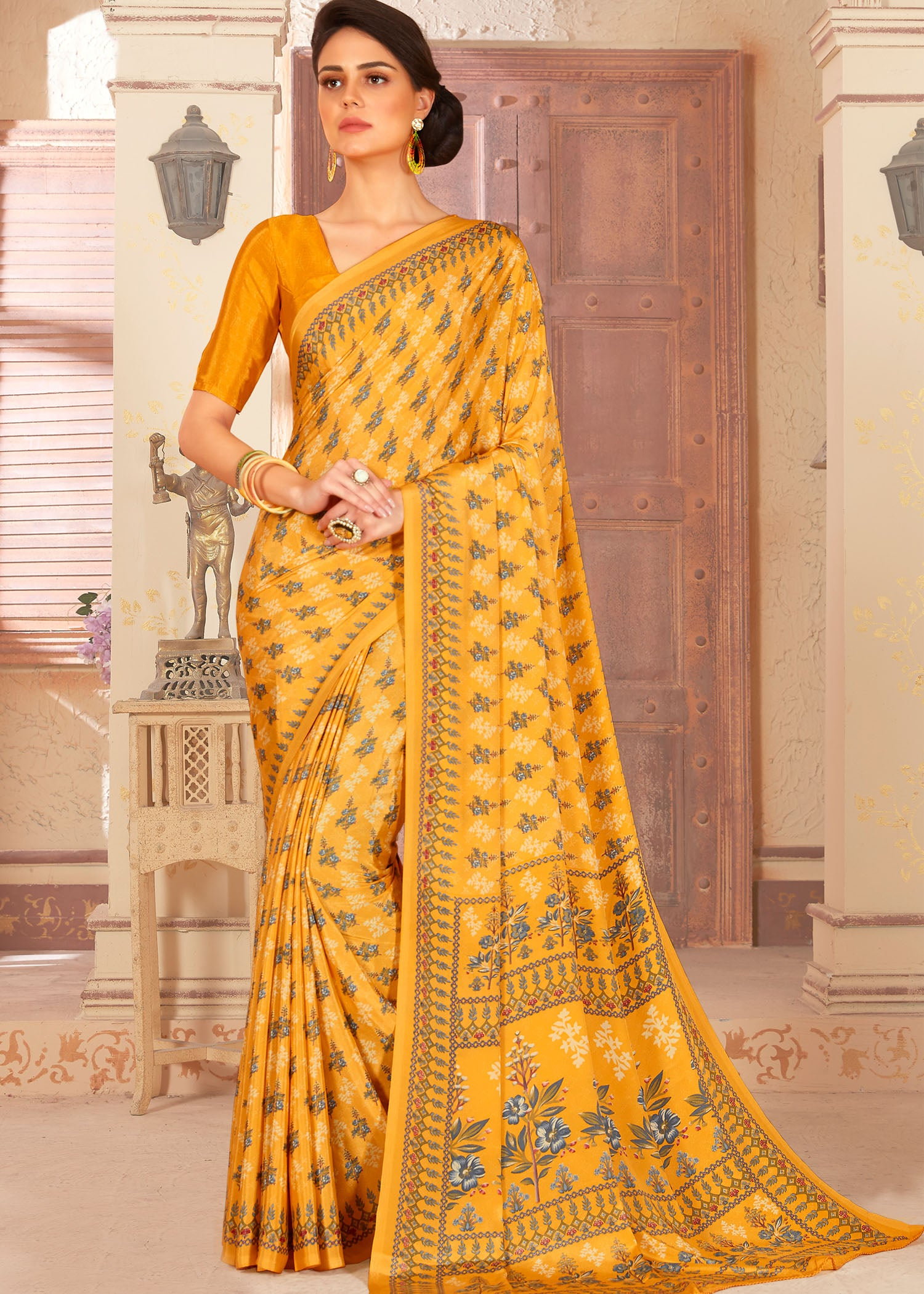 Yellow Faux Crepe Floral Print Saree