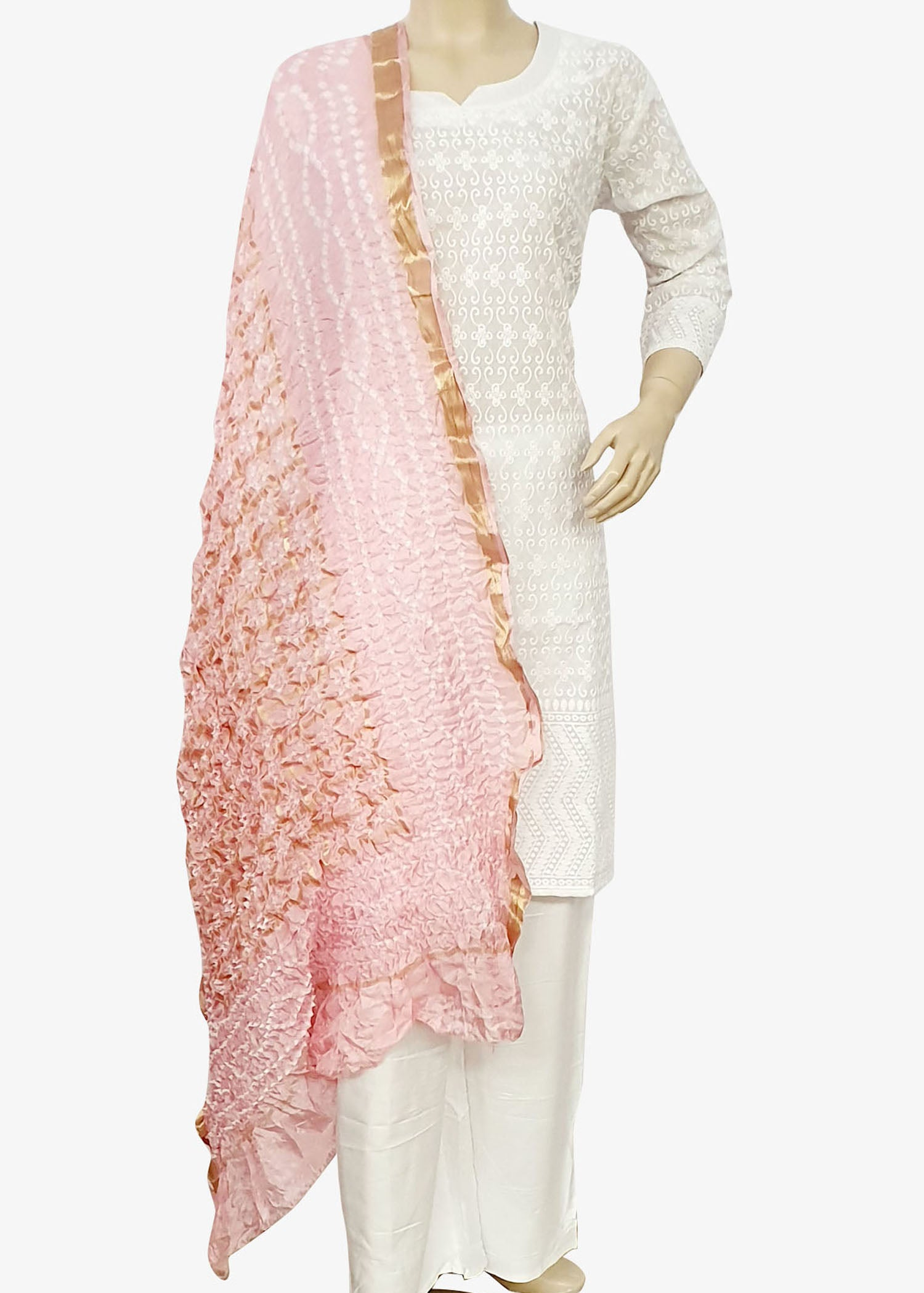 Light Pink Traditional Bandhani Dupatta