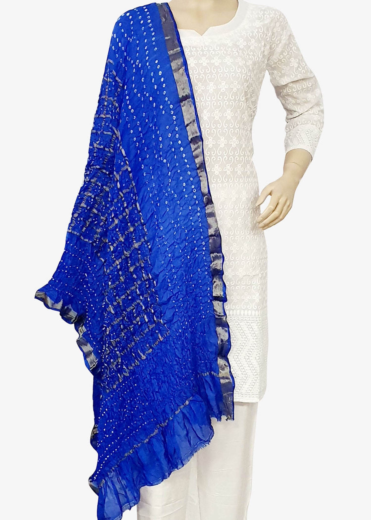 Royal Blue Traditional Bandhani Dupatta