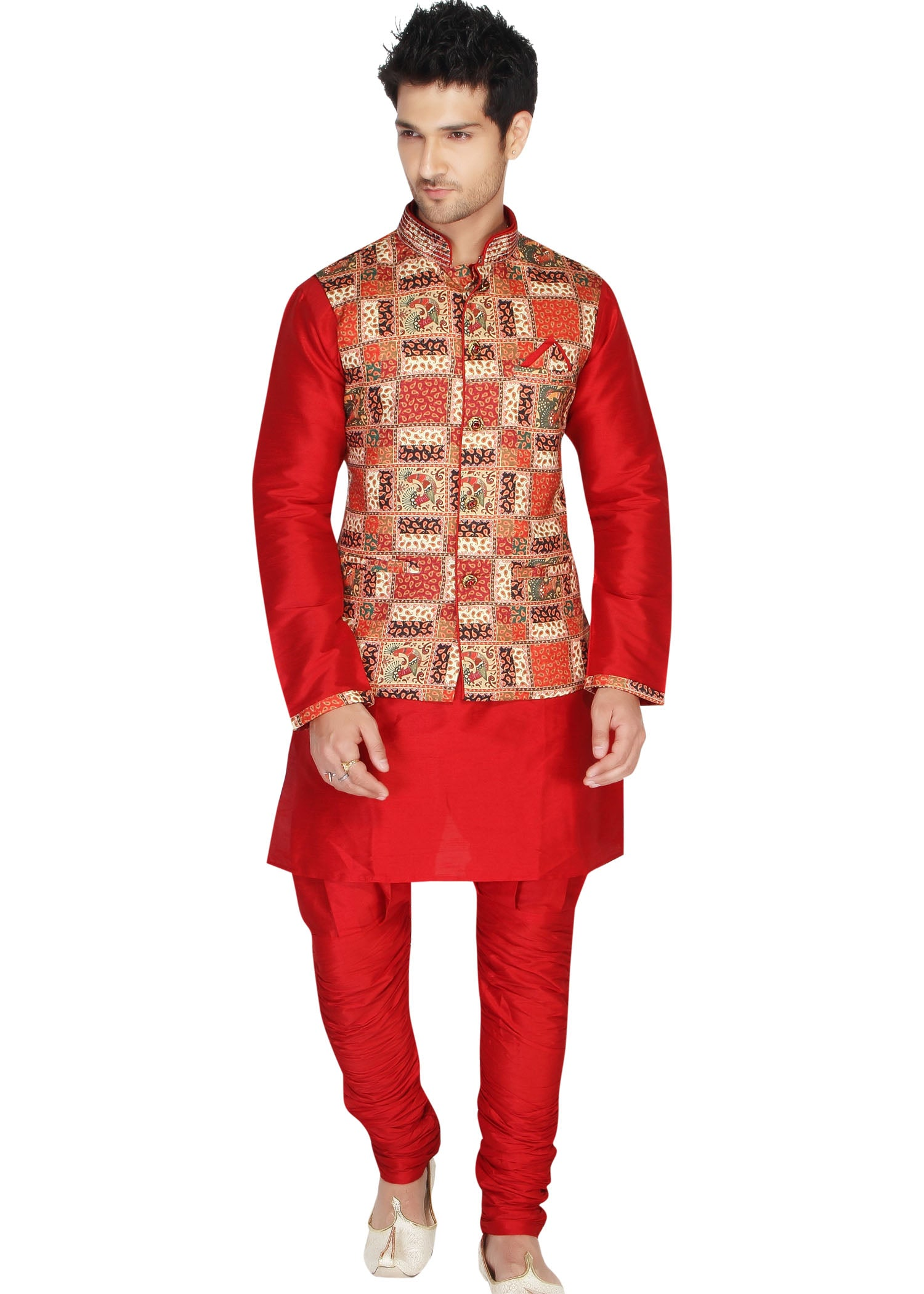 Raw Silk Kurta Pyjama Suit - Maroon