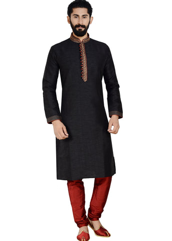 Raw Silk Kurta suit-Black