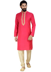 Raw Silk Kurta-Magenta