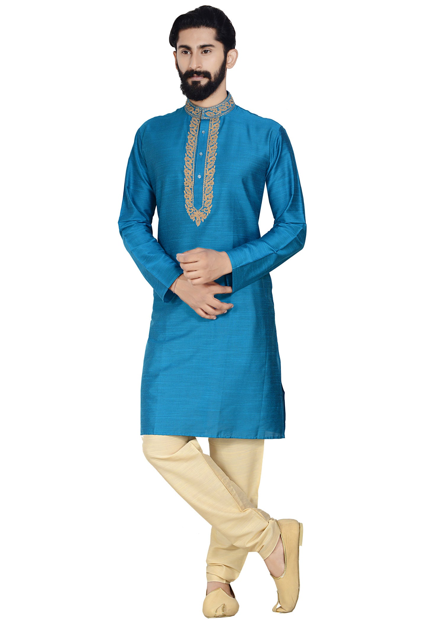 Raw Silk Kurta-Firozi