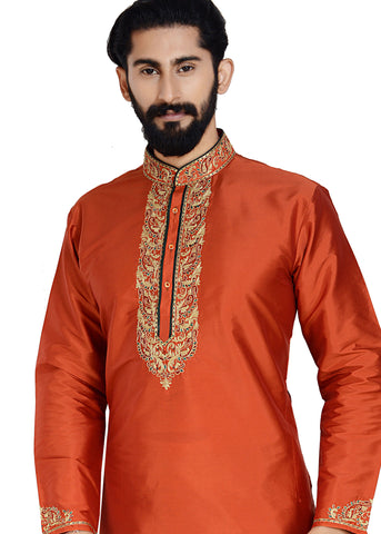 Raw Silk Kurta-Rust