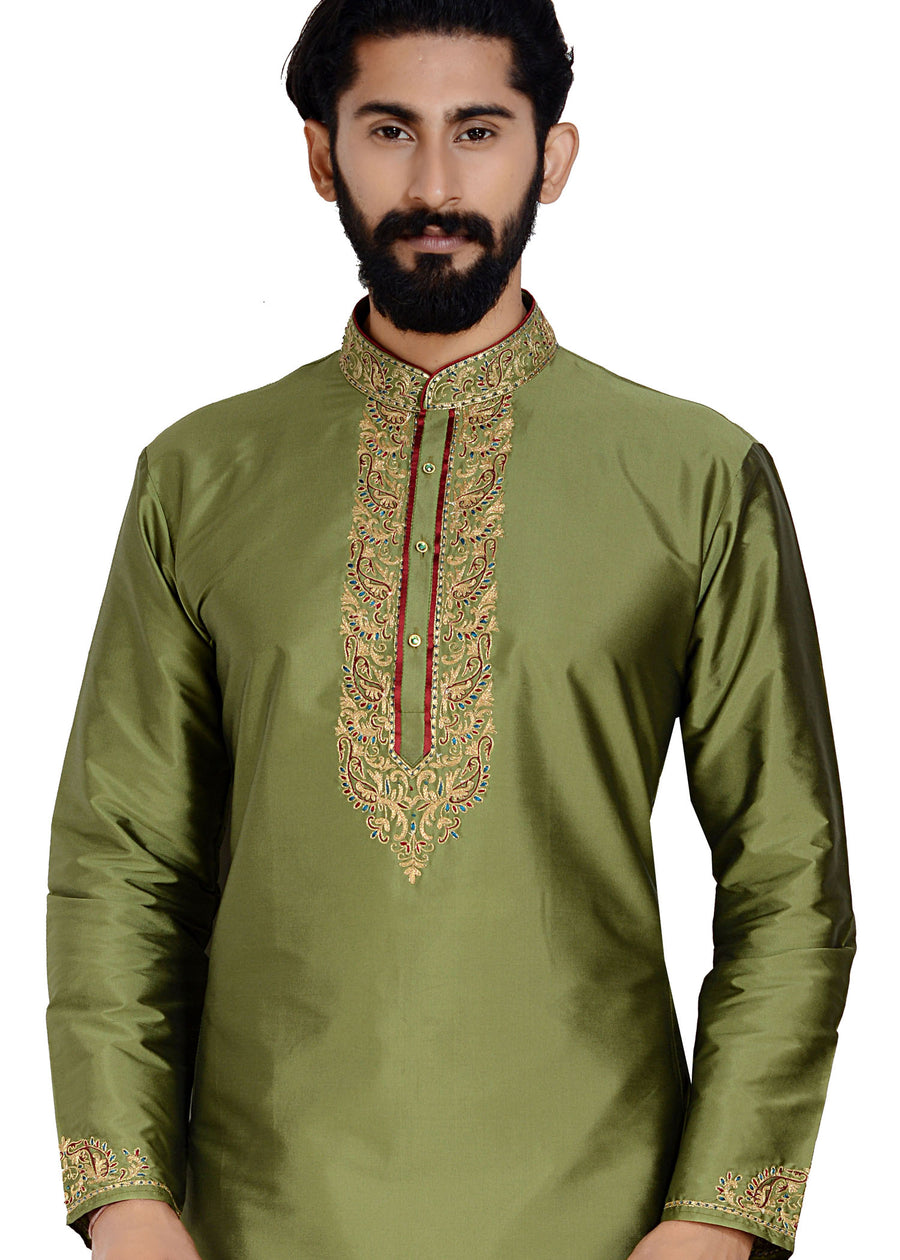 Soft Silk Kurta Suit-Mehndi Green