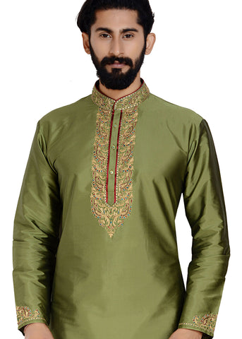Raw Silk Kurta-Mehndi green