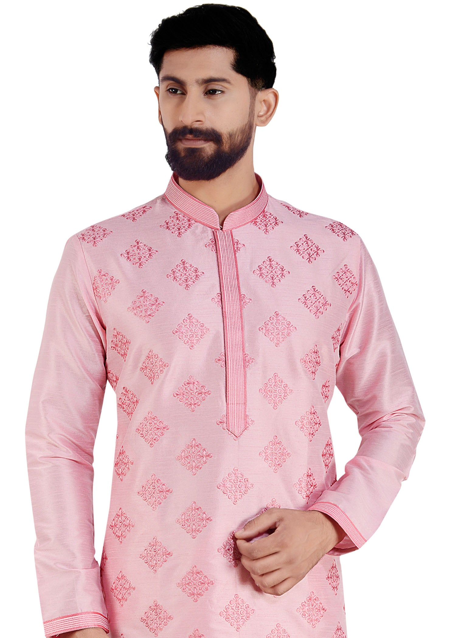 Thread Embroidered Dupion Silk Kurta Suit
