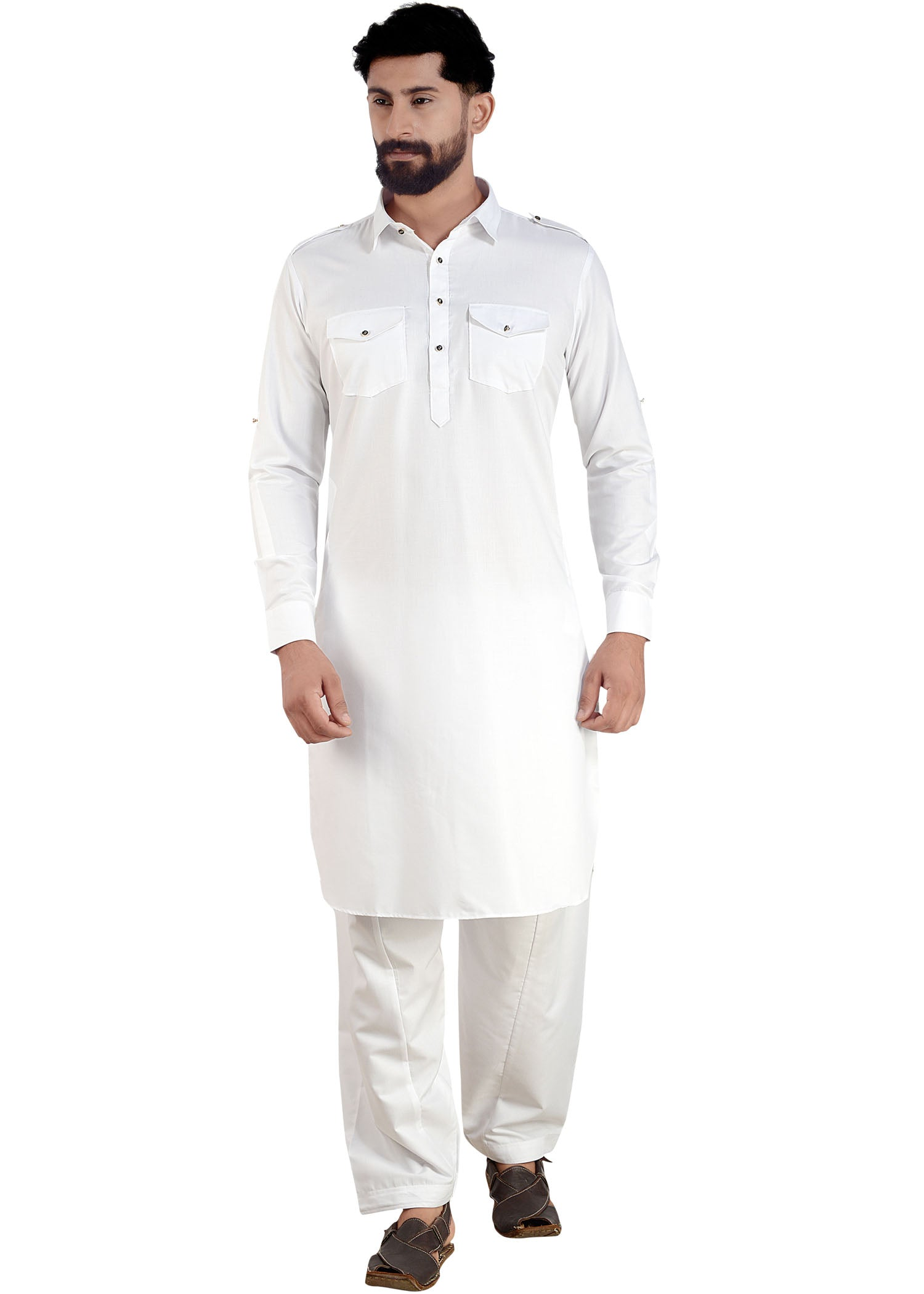 White Soft Polyester Cotton Pathani Suit