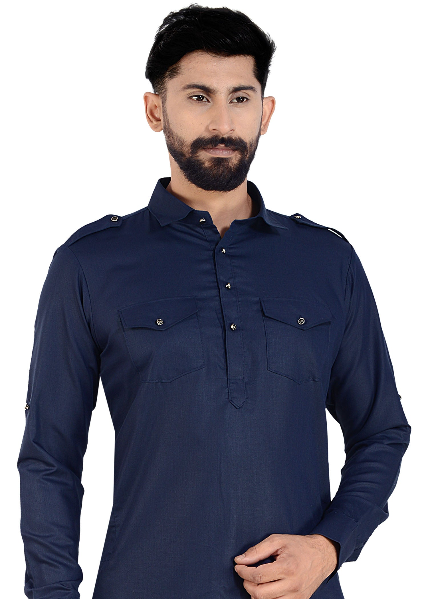 Navy Blue Soft Polyester Cotton Pathani Suit