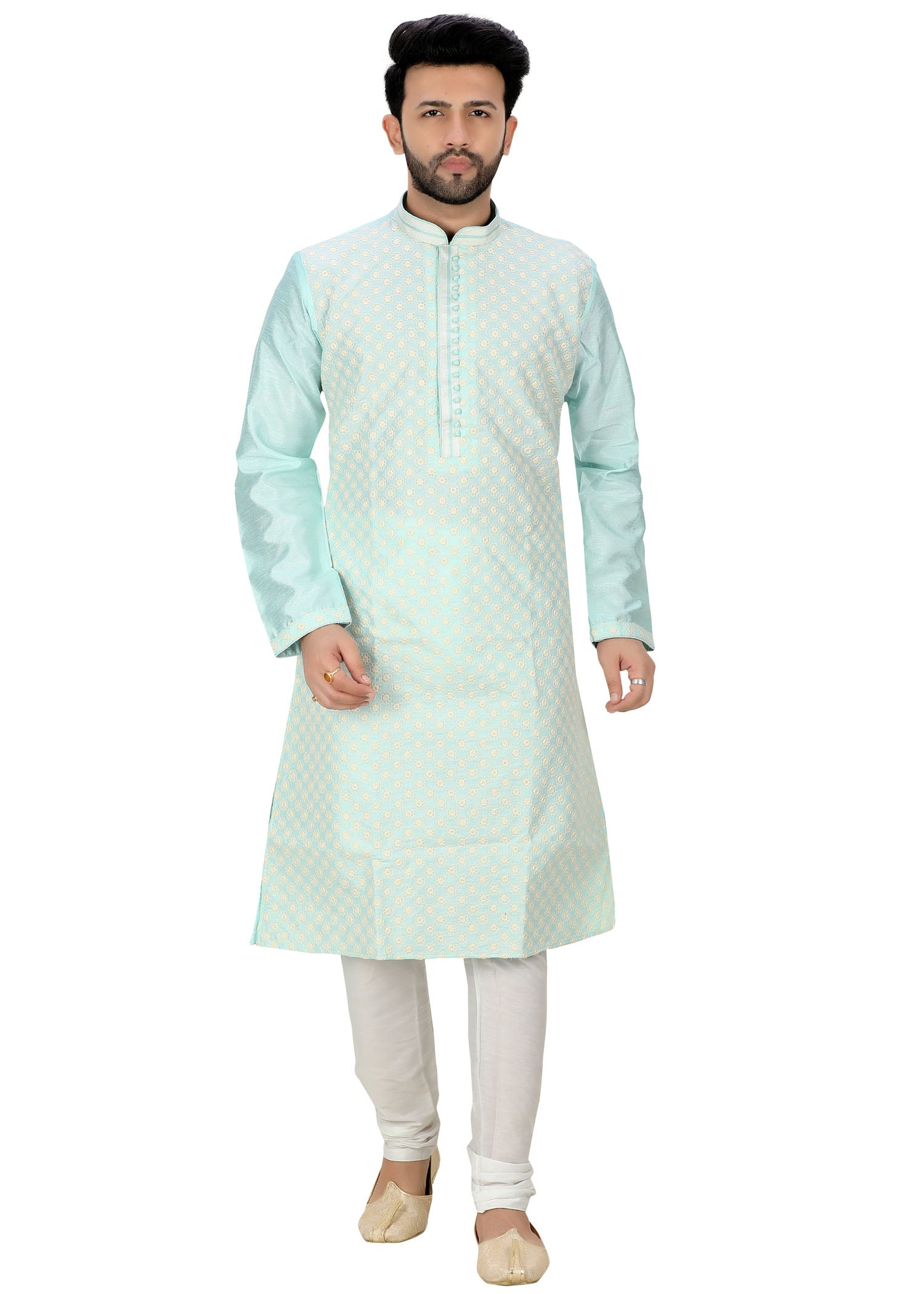 Dupion Silk Kurta Suit with Resham Work.