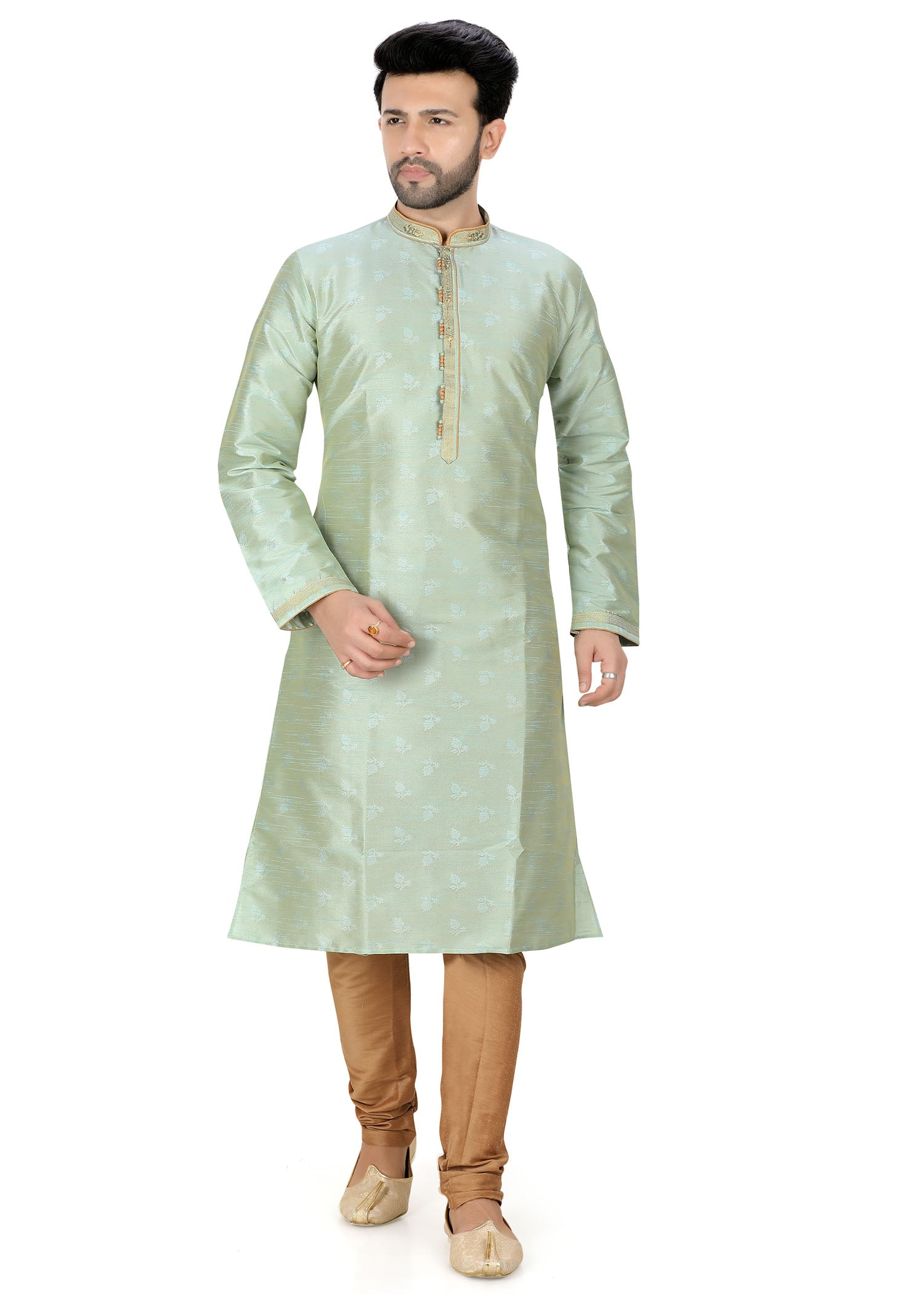 Brocade Print Silk Kurta Suit