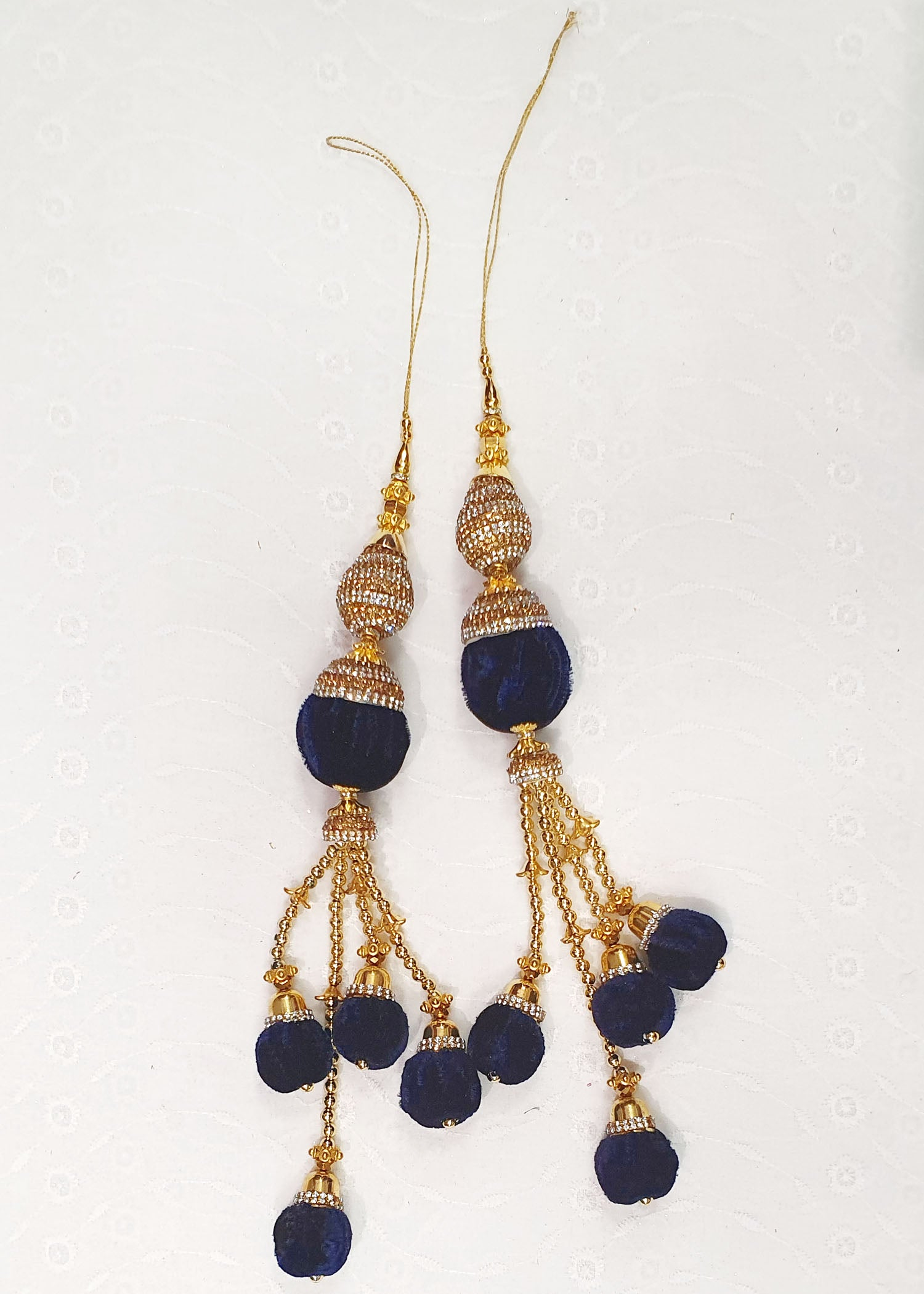 Two Piece Navy Blue Tassel Set