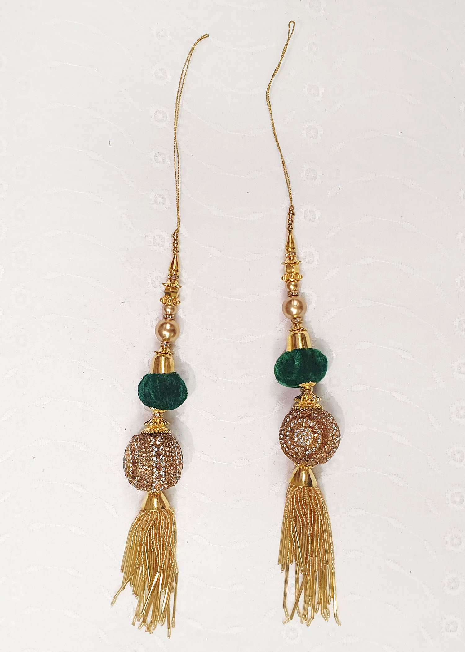 Two Piece Bottle Green Tassel Set