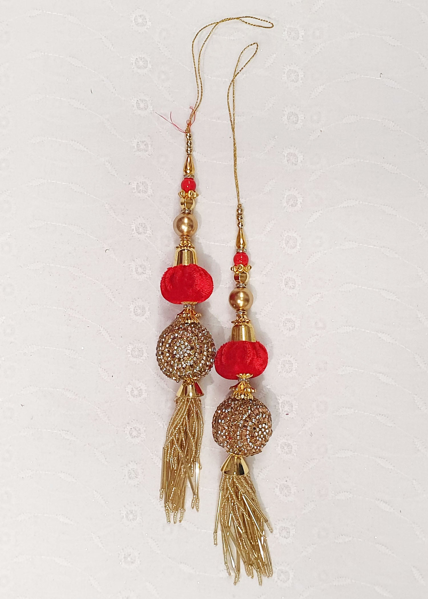Two Piece Red Tassel Set