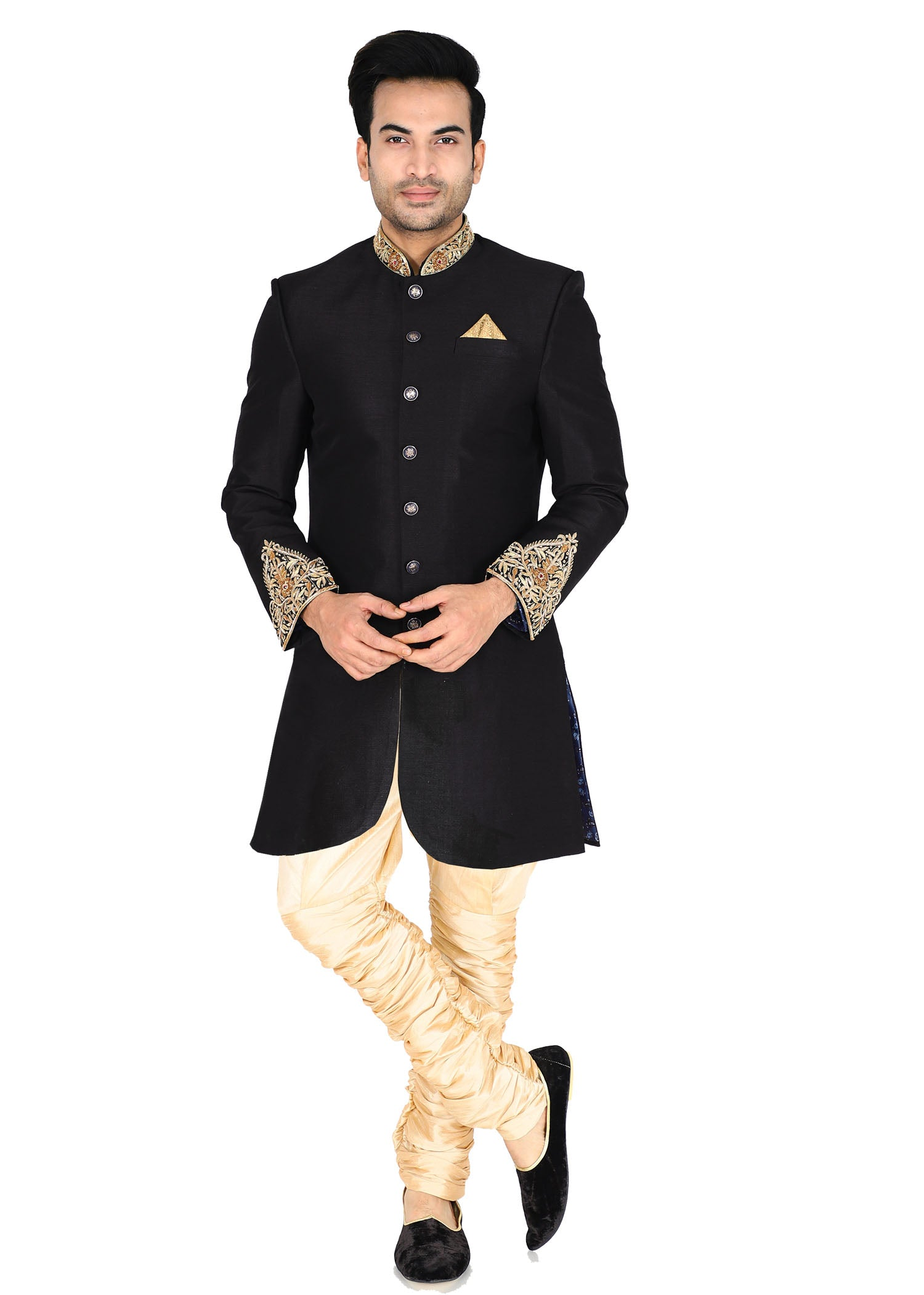 Raw Silk Indo Western Suit - Black