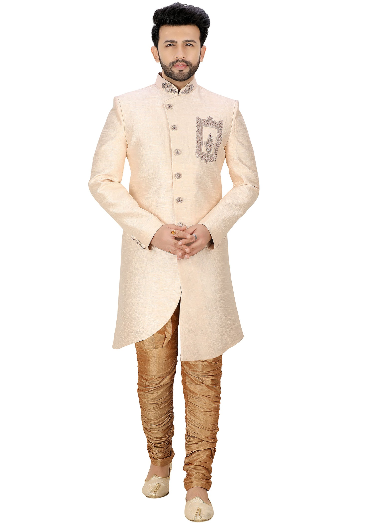 Raw Silk Indo Western Suit - Peach