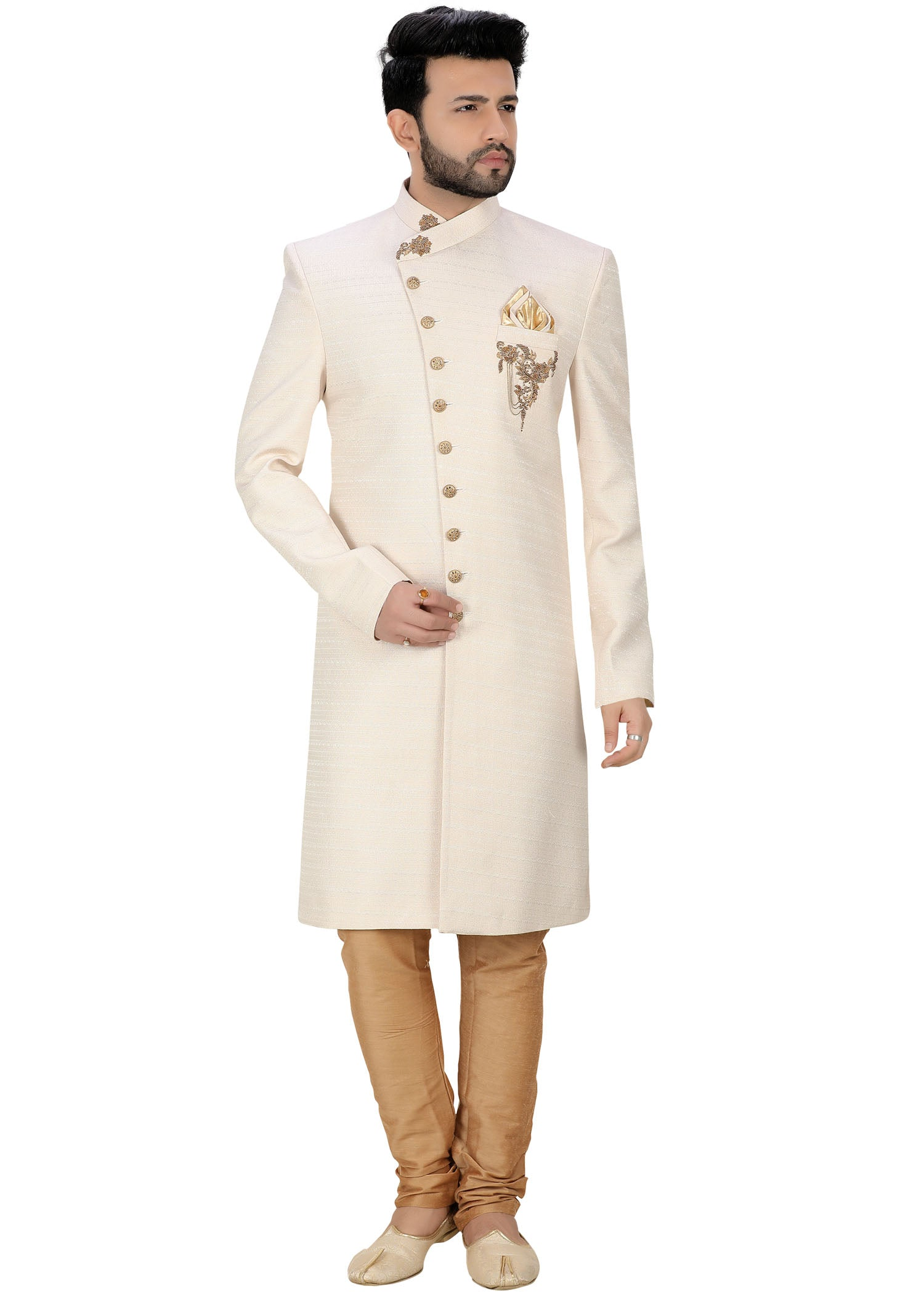 Raw Silk Sherwani Suit