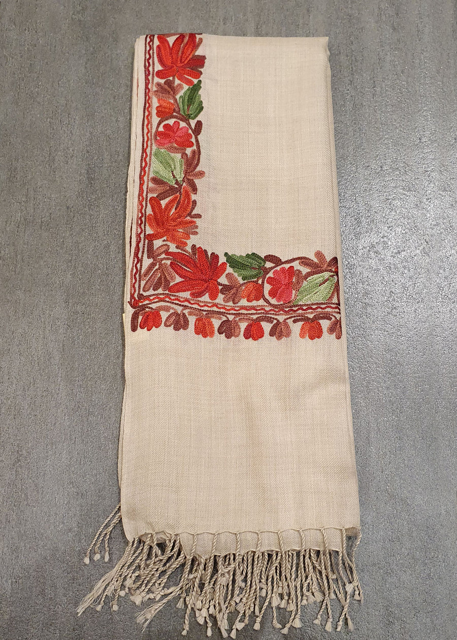 Classic Cream Embroidered Shawl