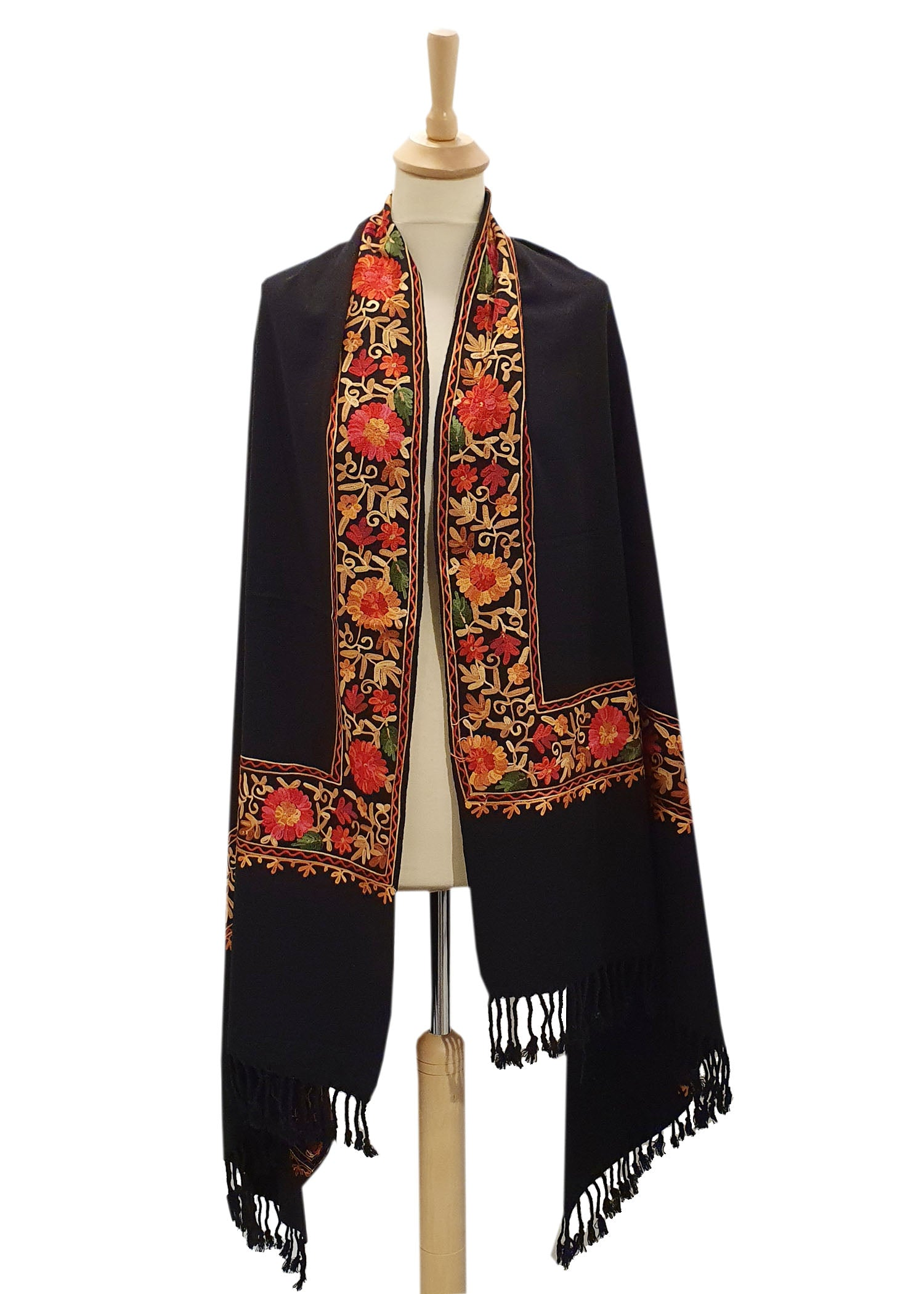 Classic Black Embroidered Shawl