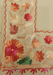 Classic Beige Embroidered Shawl