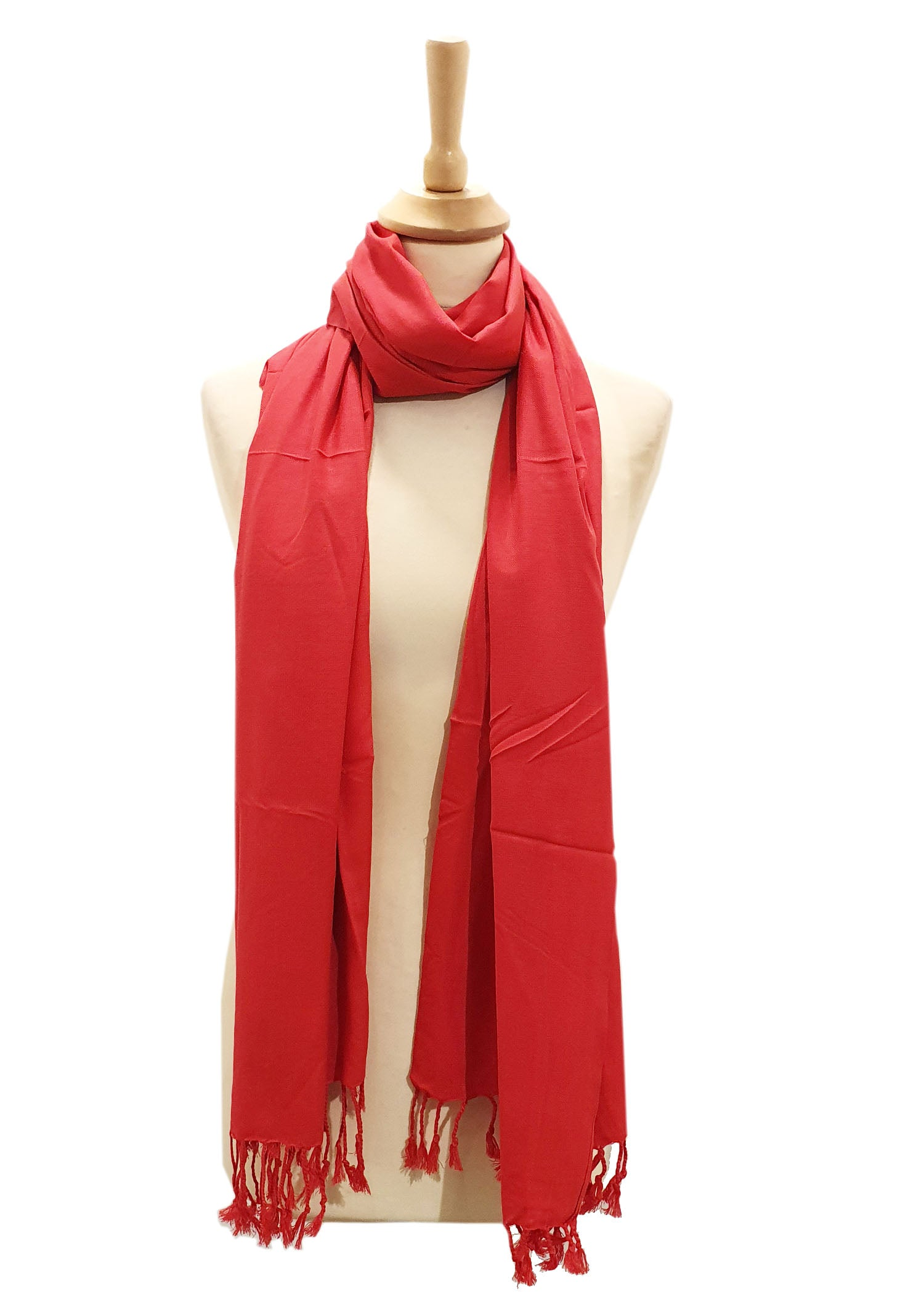 Classic Coral Silk Scarf