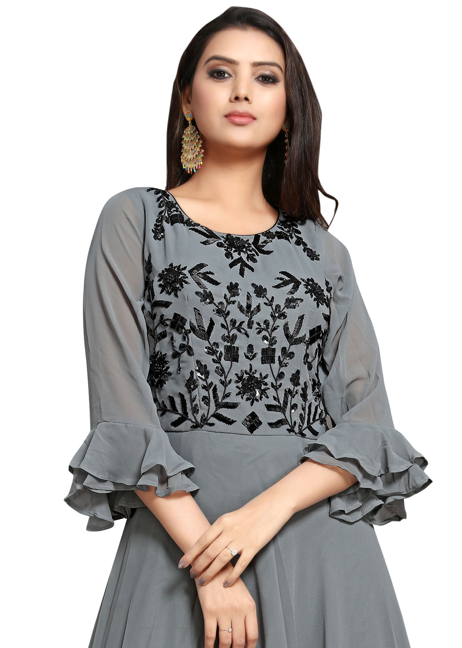Georgette Anarkali Suit - Grey