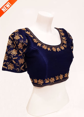 Raw silk blouse with sleeves- Navy Blue