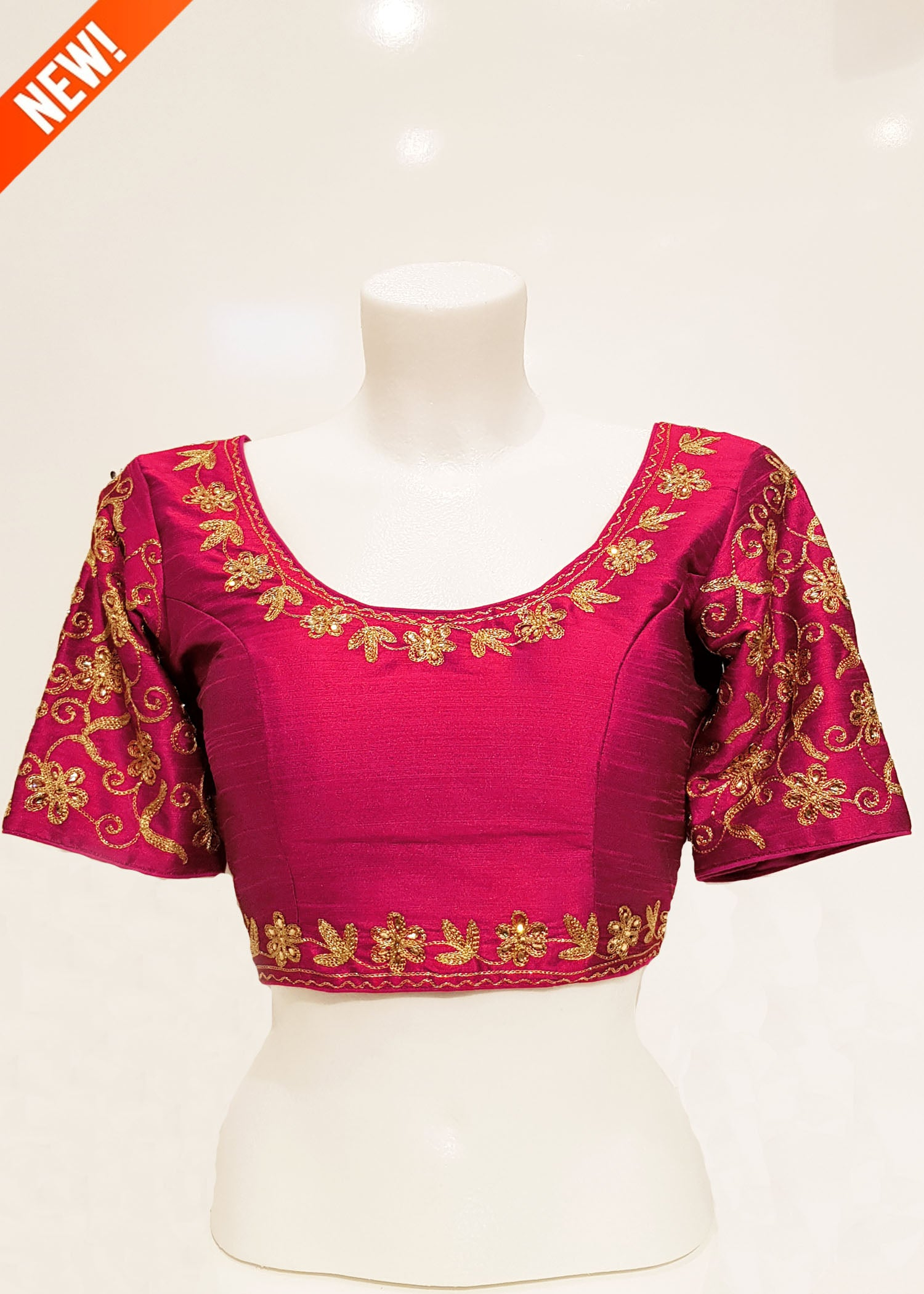 Raw silk blouse with sleeves- Pink