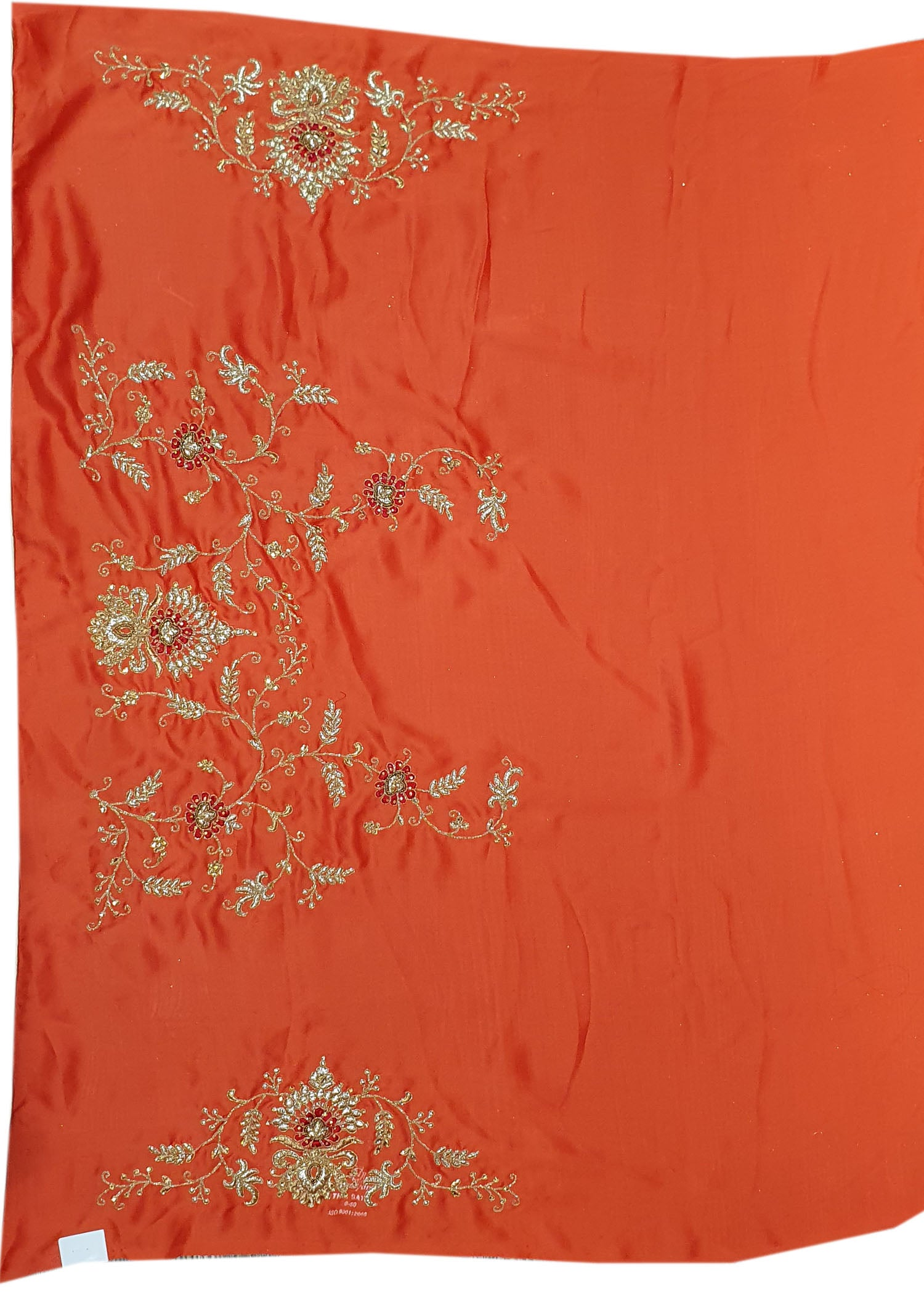 Rust Silk Heavy Embroidered Saree