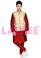Raw Silk Kurta Pyjama Suit - Gold with Maroon