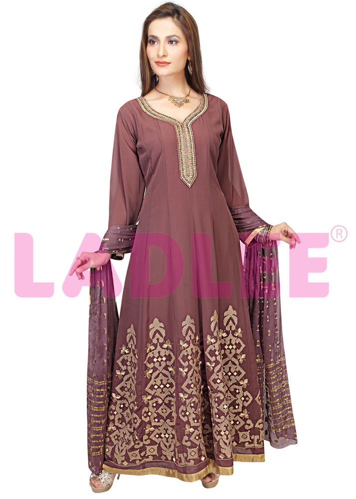 Georgette Anarkali with banarasi silk dupatta- Brown
