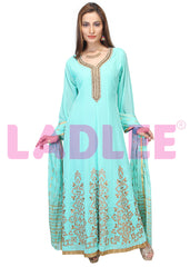 Georgette Anarkali with banarasi silk dupatta- Light blue