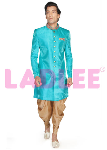 Soft Art Silk Indo Western Suit - Turquoise
