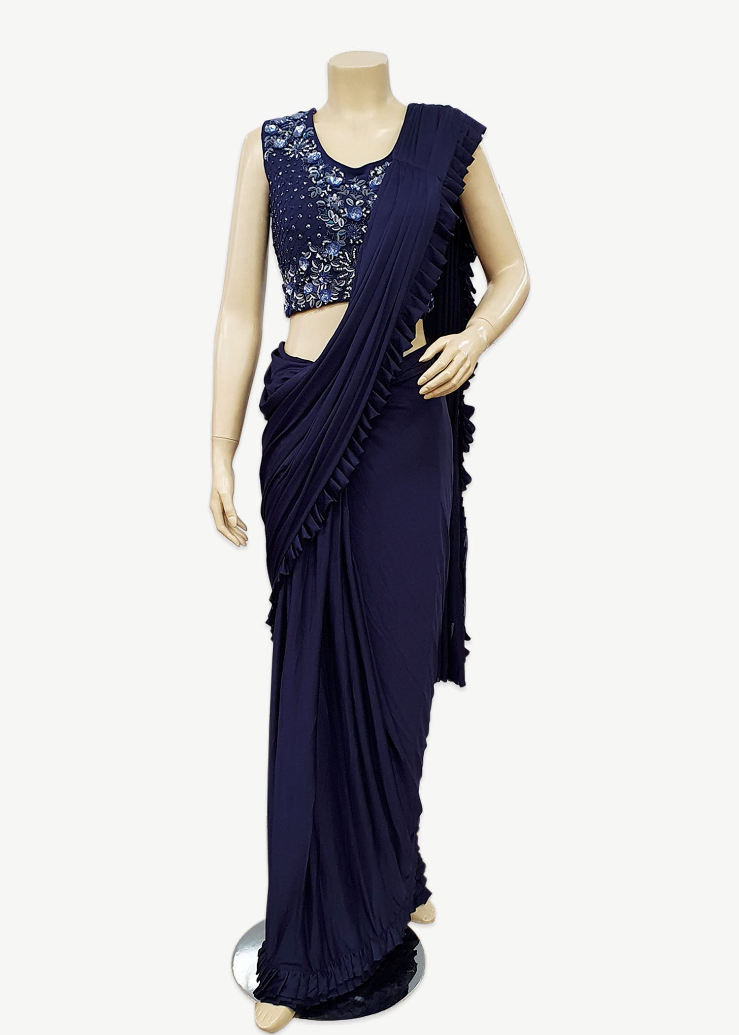 Navy Blue Lycra Ruffle Fancy Saree with Designer Blouse