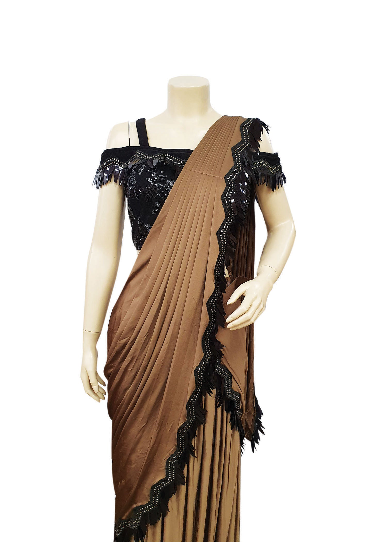 Camel Lycra Ruffle Fancy Saree with Designer Blouse