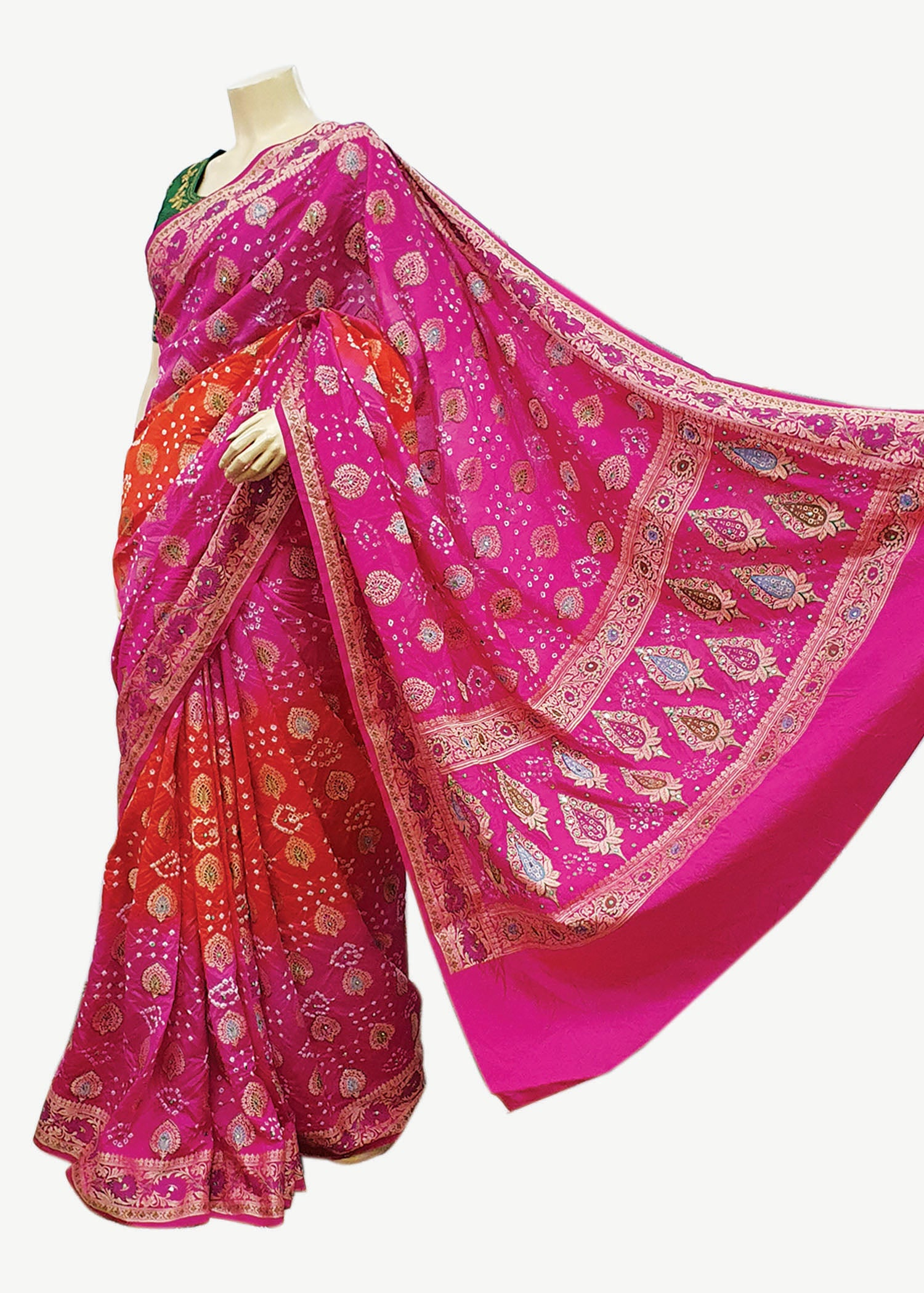 Pink-Orange Georgette Bandhani Saree