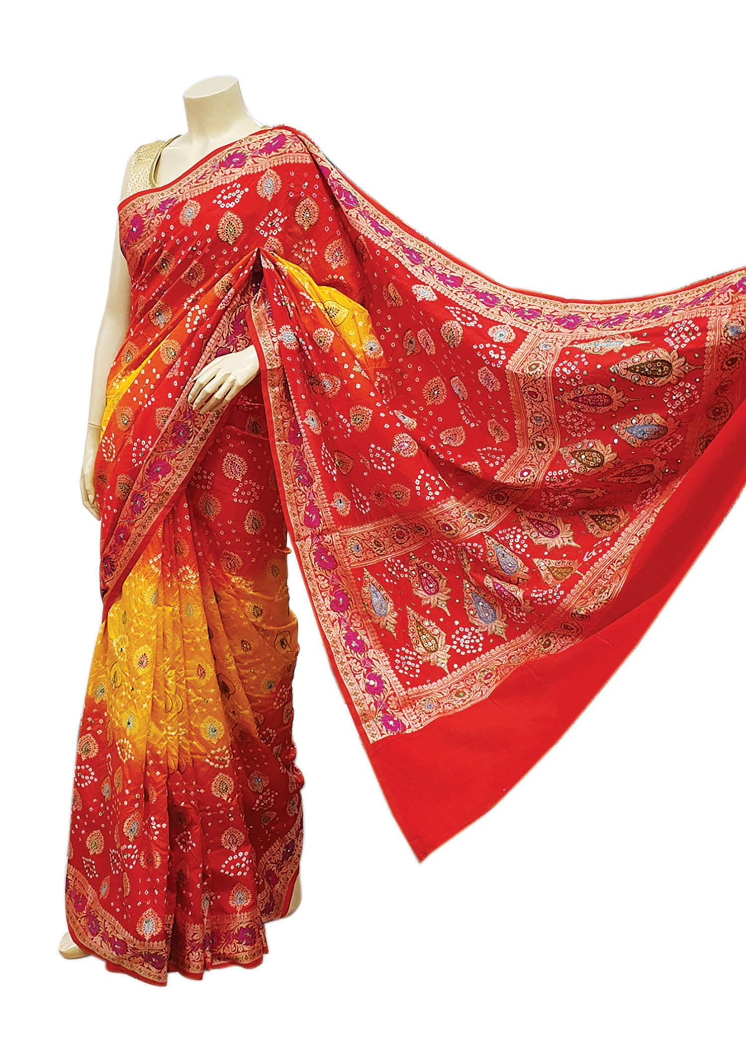 Red-Yellow Georgette Bandhani Saree