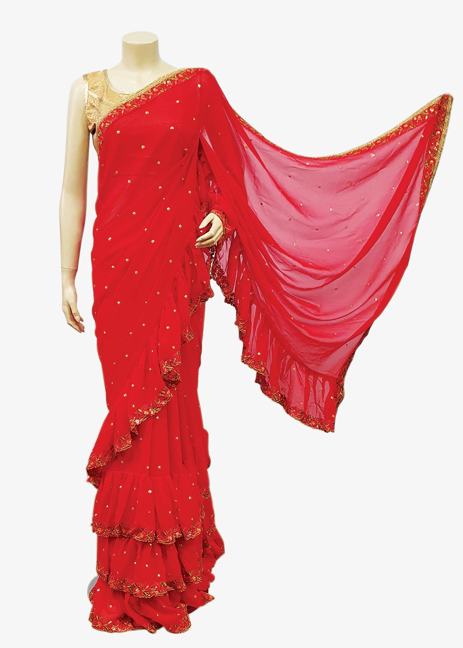Red Georgette Ruffle Embroidered Saree