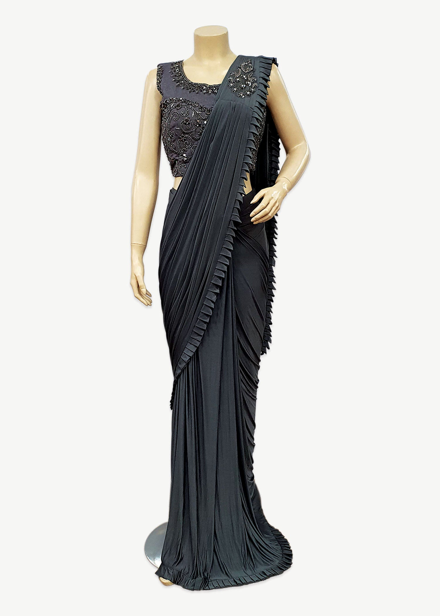 Grey Lycra Ruffle Fancy Saree with Designer Blouse