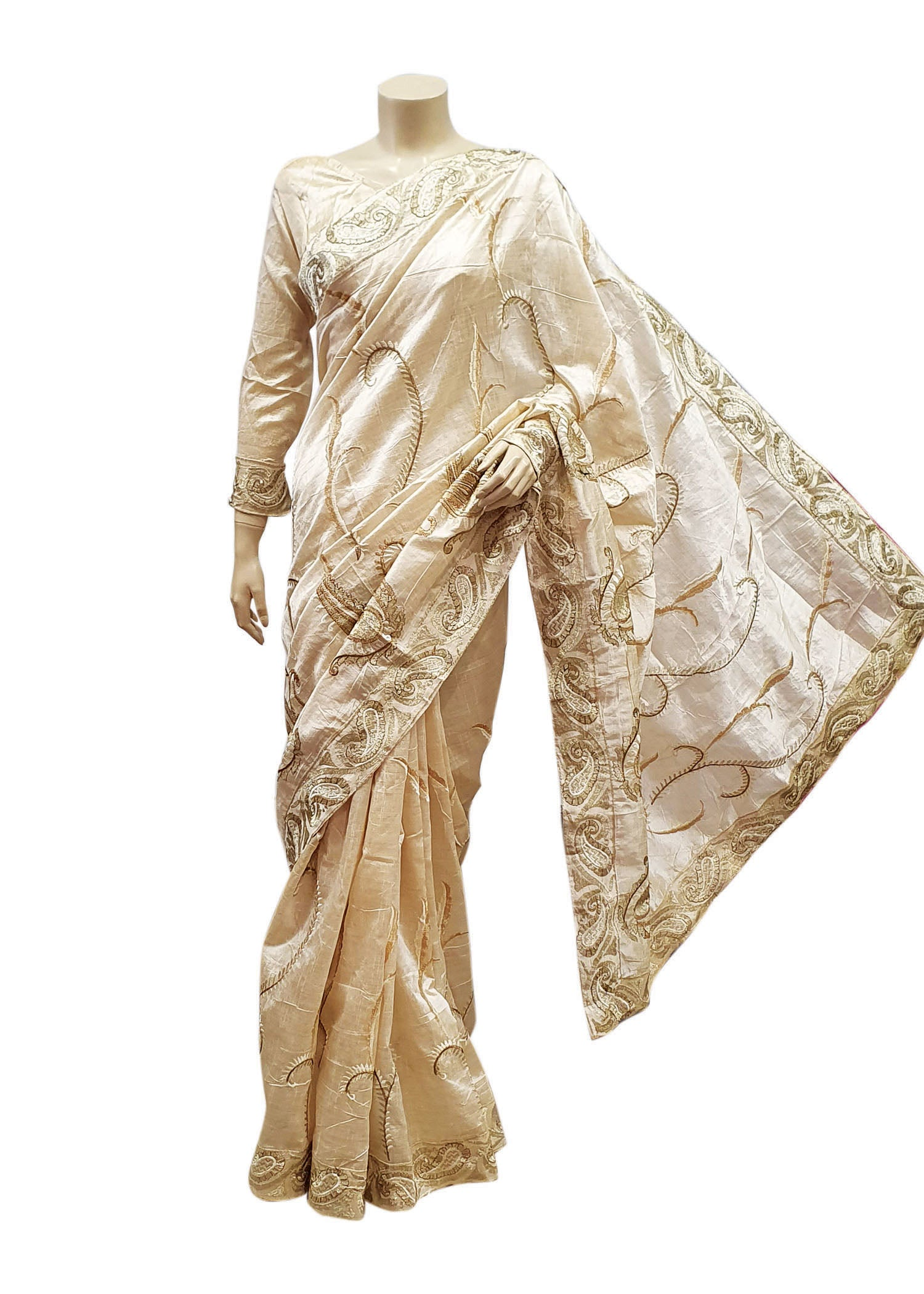 Cream Silk Saree