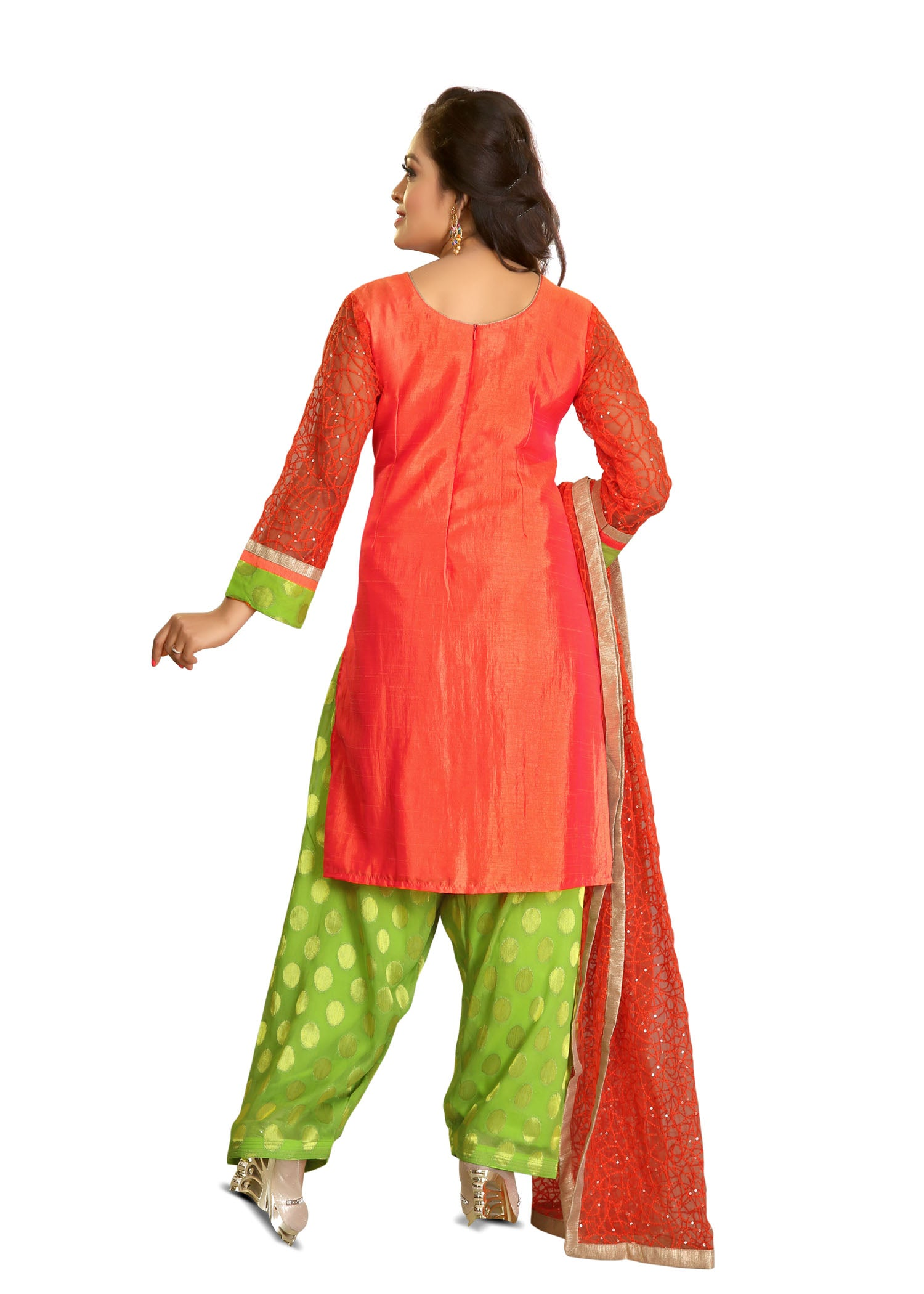 Patiala Suit with contrast thread embroidery/Tomato Red