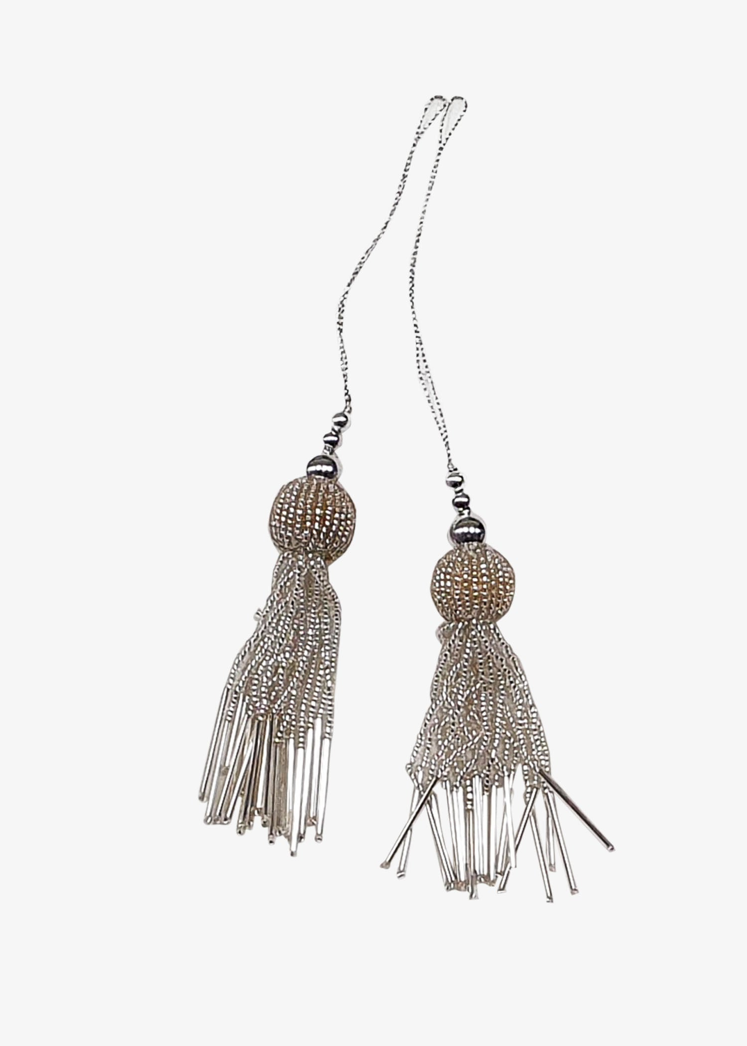 Two Piece Silver Blouse Tassel Set