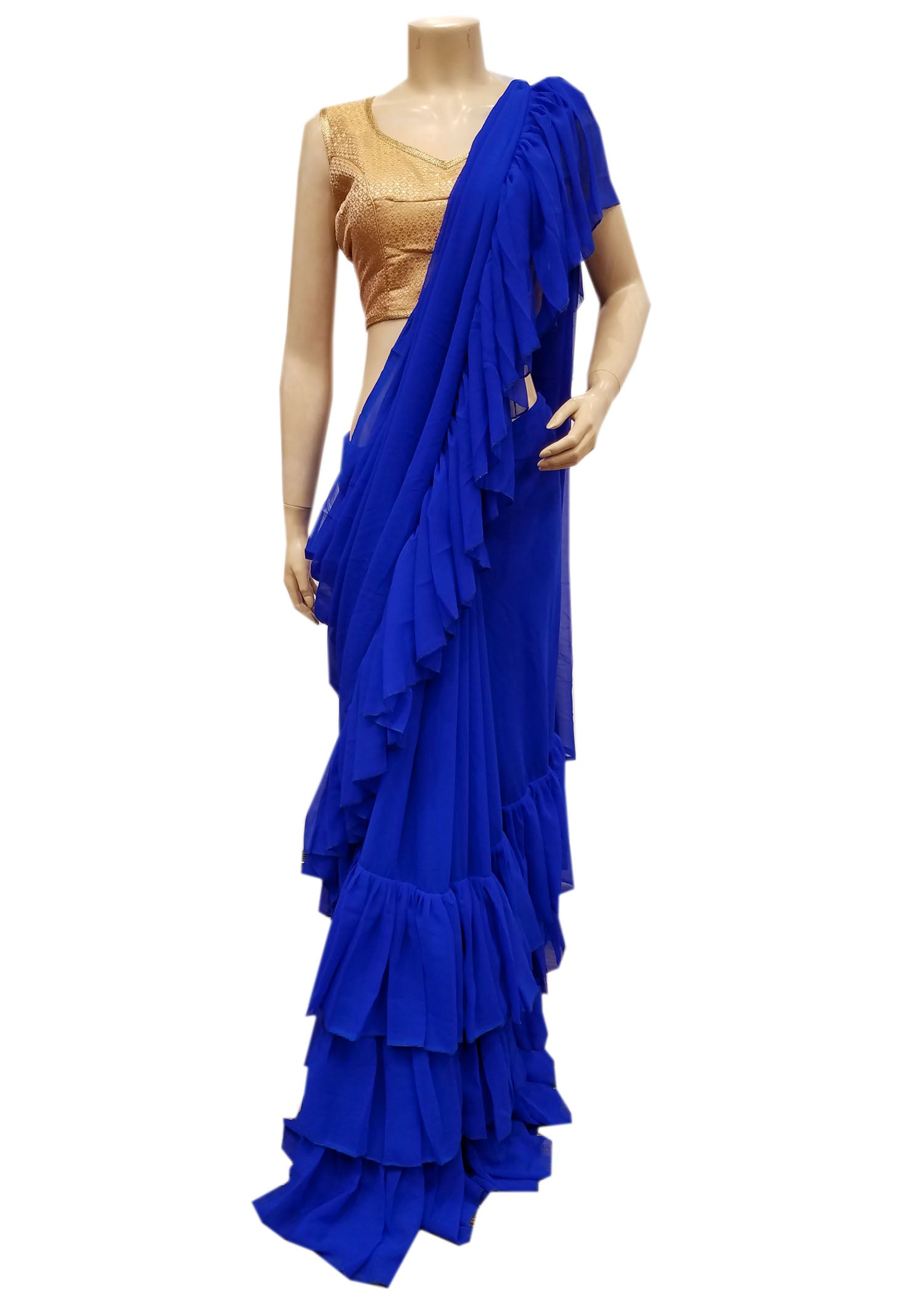 Royal Blue Saree In Georgette With Ruffle On The Border
